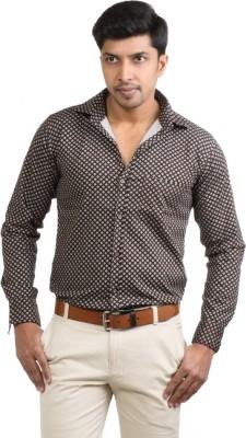 Basil Men's Printed Casual Brown Shirt