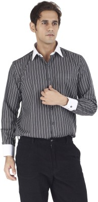 Silkina Men's Striped Formal Black, White Shirt
