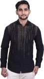Cortos Men's Printed Casual Black Shirt