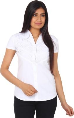 Gudluk Women,s Solid Casual White Shirt