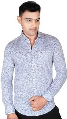 Fabrobe Men's Floral Print Casual Grey Shirt
