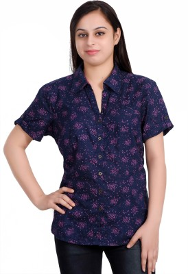 Parv Collections Women's Printed Casual Blue Shirt