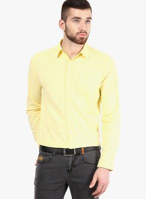 Jack & Jones Men's Solid Casual Yellow Shirt
