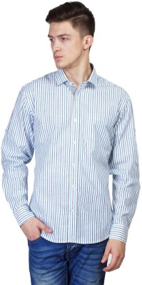 Seaboard Men's Striped Casual Blue Shirt