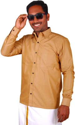 GM Fashions Men's Solid Casual Gold Shirt