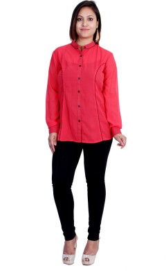 Indicot Women's Solid Formal Red Shirt