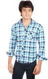 A Flash Men's Checkered Casual Blue Shir...