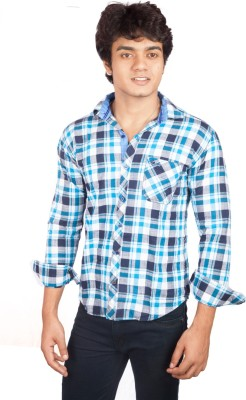 A Flash Men's Checkered Casual Blue Shirt