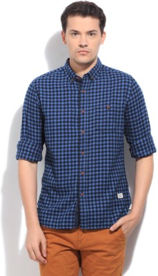 United Colors of Benetton Men's Checkered Casual Black, Blue Shirt
