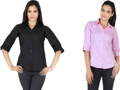 NGT Women's Solid Formal Black Shirt