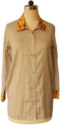 Bring Home Stories Women's Solid Casual Beige Shirt