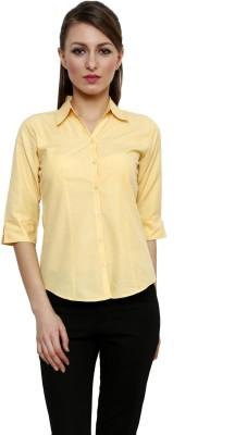 Fellows International Women's Solid Formal Yellow Shirt