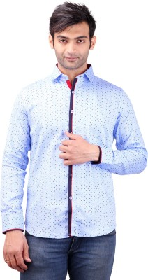 Clubstone Men's Printed Casual Blue Shirt