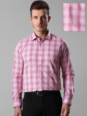 Invictus Men's Checkered Casual Pink Shirt