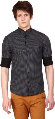 I-Voc Men,s Printed Casual Black, White Shirt