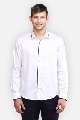 four one oh Men's Self Design Formal White Shirt
