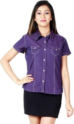 Faireno Women's Solid Casual Purple Shirt