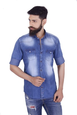 MOZAC Men,s Solid Casual Denim Blue Shirt