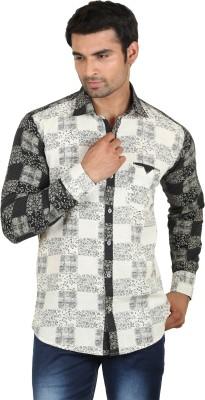 Swiss Culture Men's Printed Casual Beige, Black Shirt