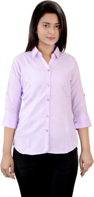 Jazzy Ben Women,s Solid Formal Purple Shirt