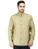 Prakum Men's Striped Casual Yellow Shirt