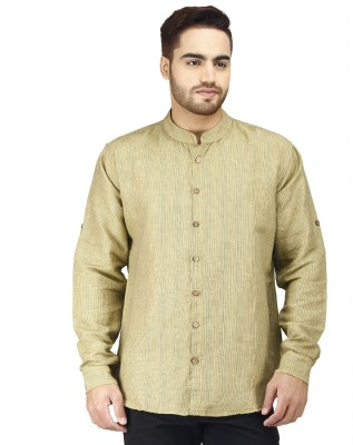 Prakum Men's Striped Casual Yellow Shirt