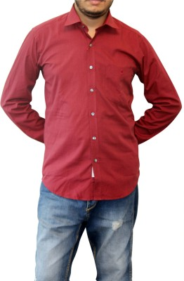 Real Value Men's Solid Casual Maroon Shirt