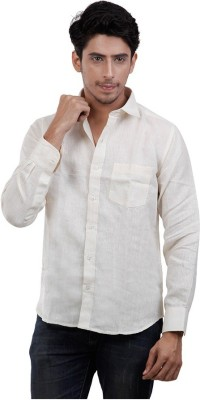 Aam Fabrics Men's Solid Casual Linen Beige Shirt