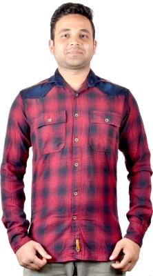 KEF Men's Checkered Casual Red, Black Shirt