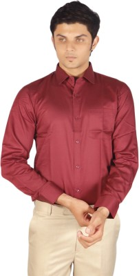 Kriss Men's Solid Casual Maroon Shirt