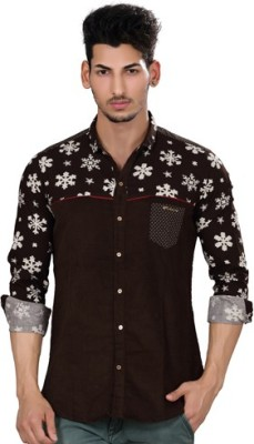 Fisheye Men's Printed Casual Brown Shirt