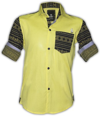 Fingerchips Boys Self Design Casual Yellow, Black Shirt