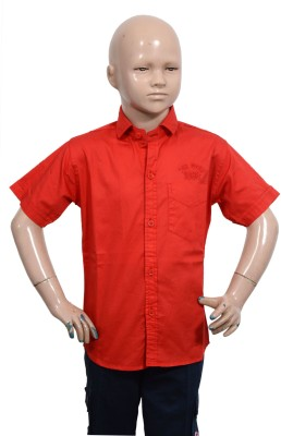 Puppet Nx Boy's Solid Casual Red Shirt
