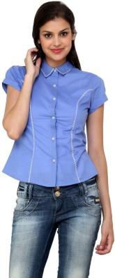 Aardee Women's Solid Casual Blue Shirt