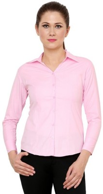 NGT Women's Solid Formal Pink Shirt