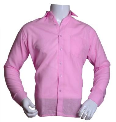 Qube Men's Solid Formal Pink Shirt