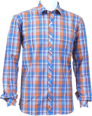 Ardeur Men's Checkered Casual Blue, Orange Shirt
