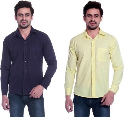 Calibro Men's Solid Formal Purple, Yellow Shirt