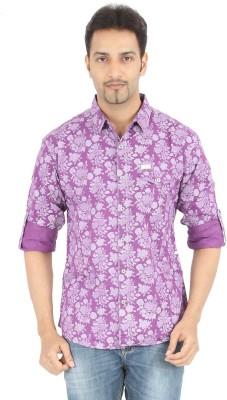 Spykar Men's Printed Casual Purple Shirt