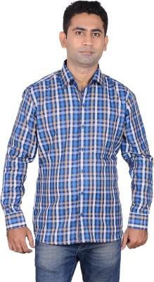 Aces Blue Men's Checkered Casual Blue Shirt