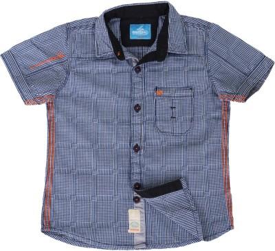 Einstein Boy's Checkered Casual Blue Shirt