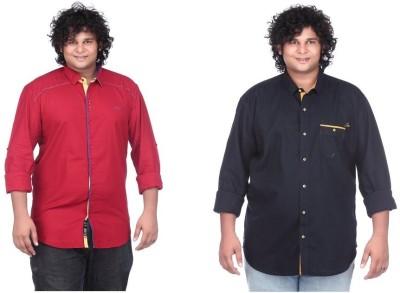 CIROCO Men's Solid Casual Red, Dark Blue Shirt