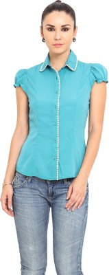 MSMB Women's Solid Casual Green Shirt