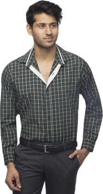 Menmark Men,s Checkered Formal Black, Green Shirt
