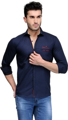 Nexq Men's Solid Casual Dark Blue Shirt
