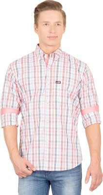 Union Street Men's Checkered Casual White, Red, Blue Shirt