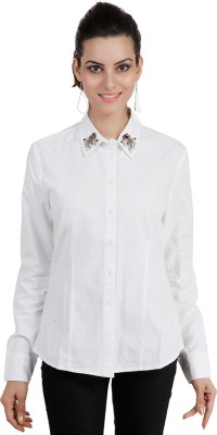 Pret a Porter Women,s Embellished Casual White Shirt