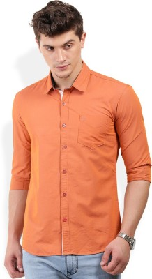PAN VALLEY Men's Solid Casual Orange Shirt