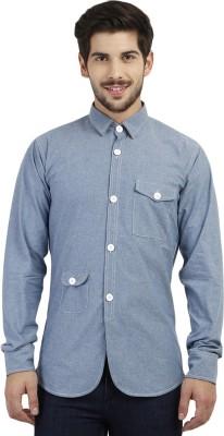 Marcello And Ferri Men's Solid Casual Light Blue Shirt