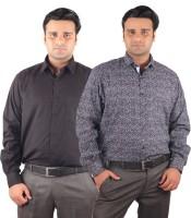 Riparv Formal Shirts (Men's) - Riparv Men's Solid, Printed Formal Black, Blue Shirt(Pack of 2)